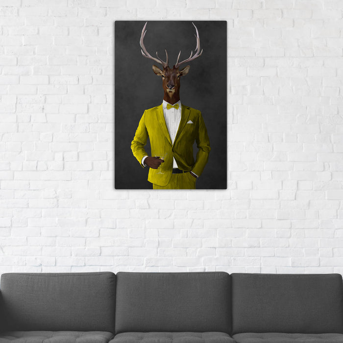 Elk Drinking Martini Wall Art - Yellow Suit