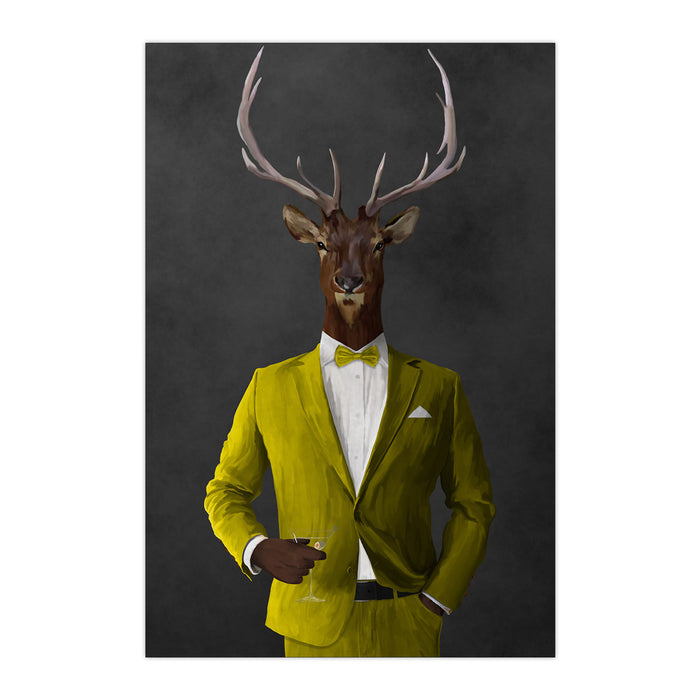Elk drinking martini wearing yellow suit large wall art print