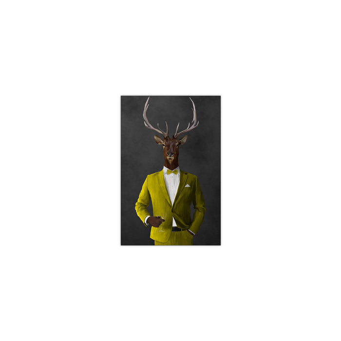 Elk drinking martini wearing yellow suit small wall art print