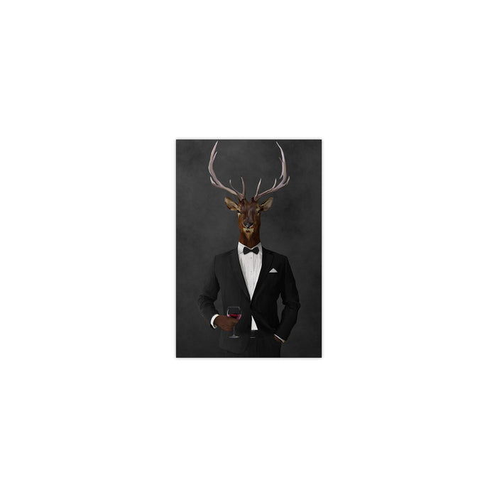 Elk drinking red wine wearing black suit small wall art print
