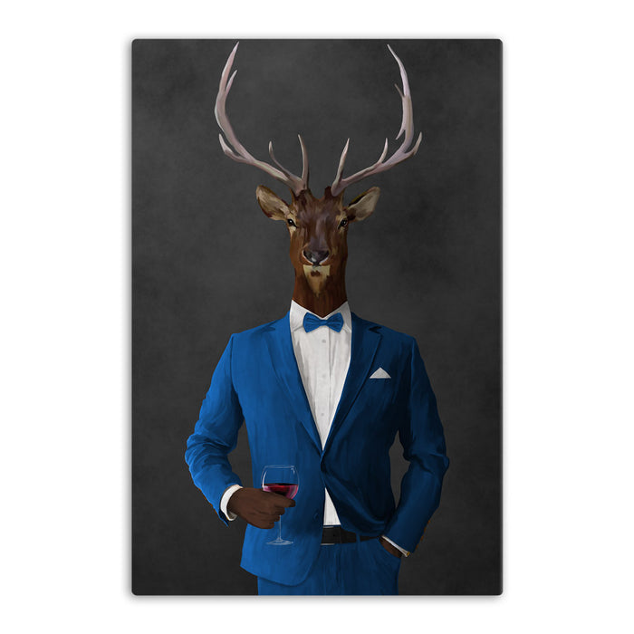 Elk drinking red wine wearing blue suit canvas wall art