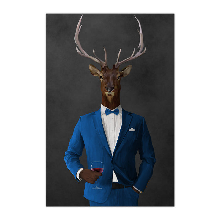 Elk drinking red wine wearing blue suit large wall art print