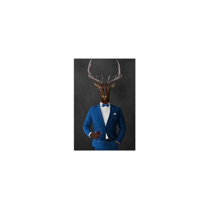 Elk drinking red wine wearing blue suit small wall art print