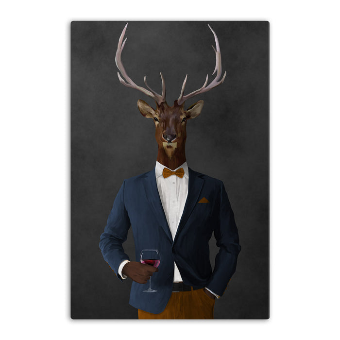 Elk drinking red wine wearing navy and orange suit canvas wall art
