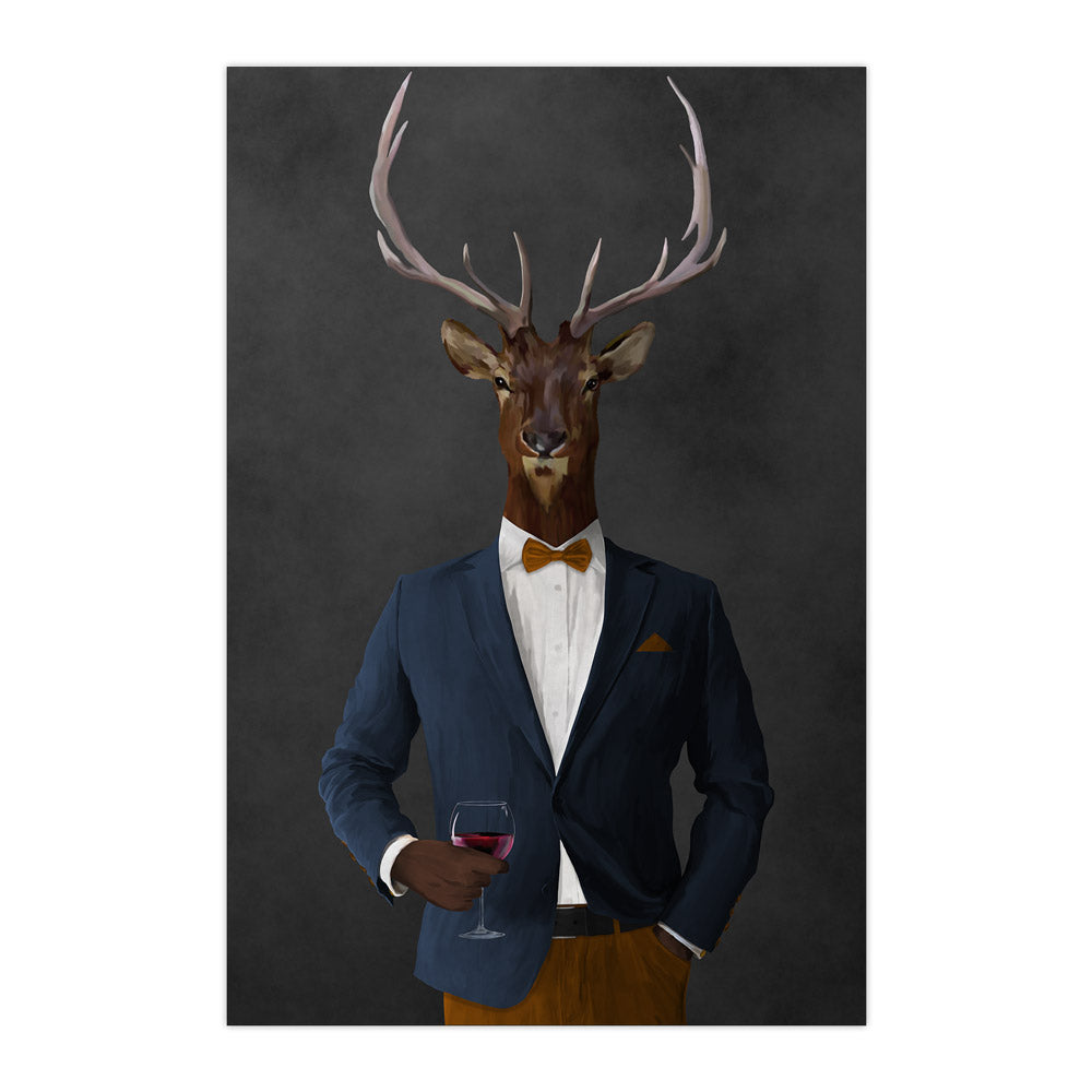 Elk drinking red wine wearing navy and orange suit large wall art print