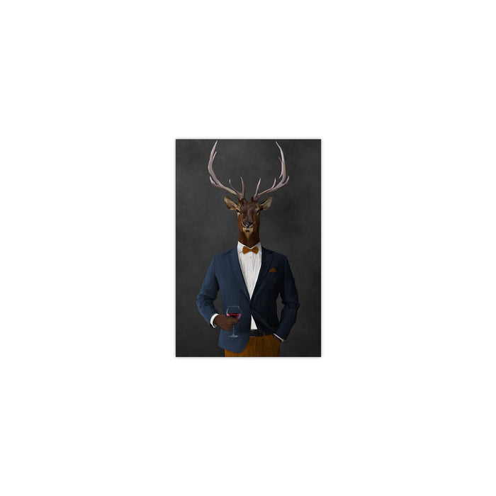 Elk drinking red wine wearing navy and orange suit small wall art print