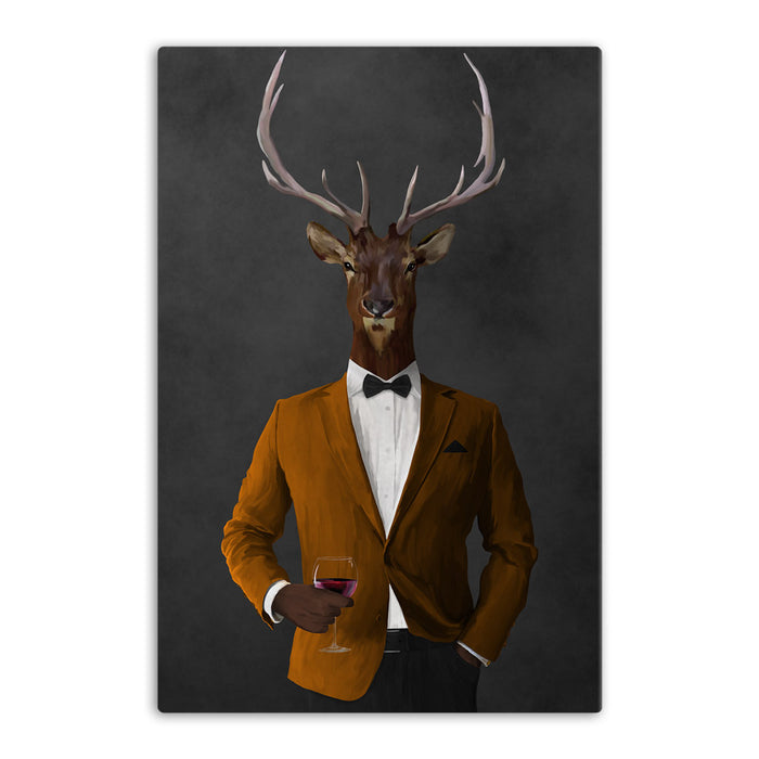 Elk drinking red wine wearing orange and black suit canvas wall art