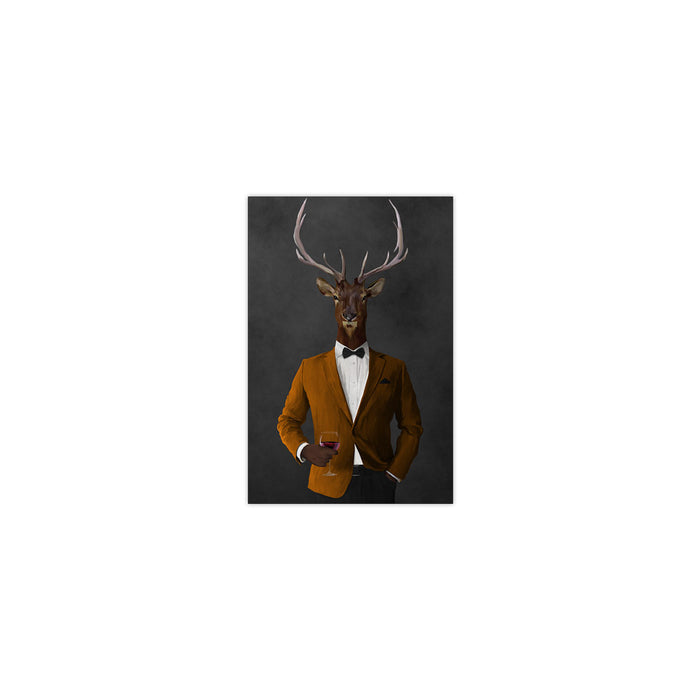 Elk drinking red wine wearing orange and black suit small wall art print