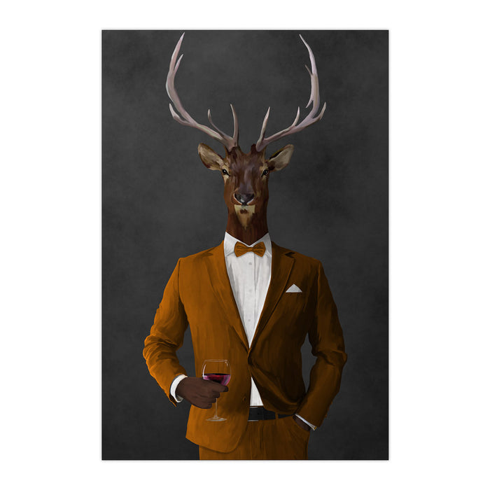 Elk drinking red wine wearing orange suit large wall art print