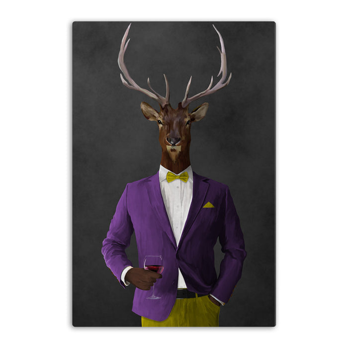 Elk drinking red wine wearing purple and yellow suit canvas wall art