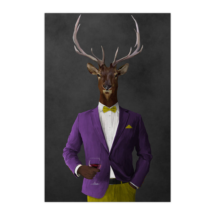 Elk drinking red wine wearing purple and yellow suit large wall art print