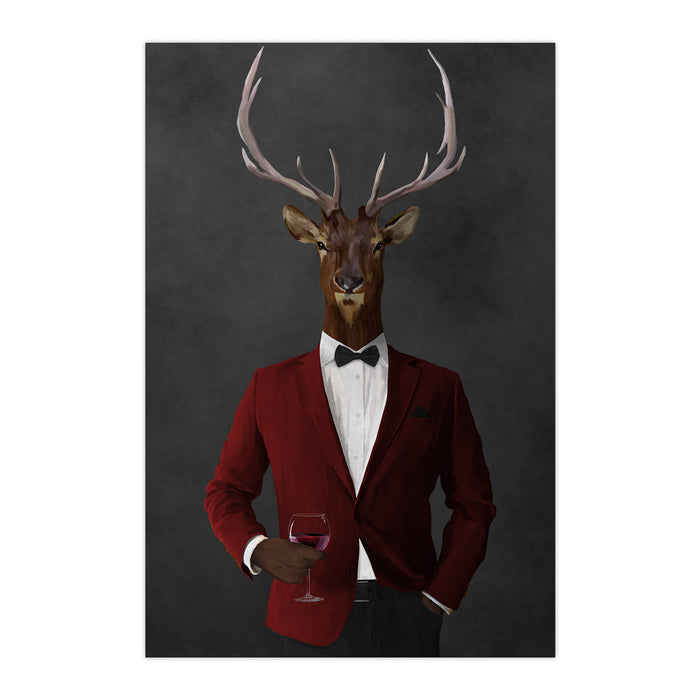 Elk drinking red wine wearing red and black suit large wall art print
