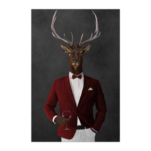 Elk drinking red wine wearing red and white suit large wall art print