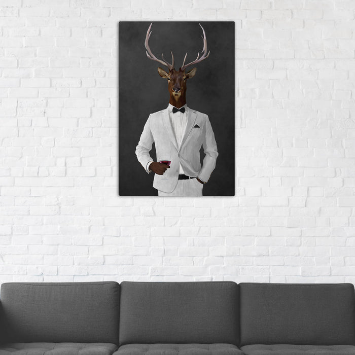 Elk Drinking Red Wine Wall Art - White Suit