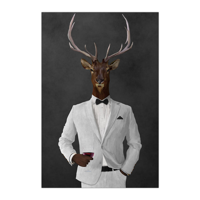 Elk drinking red wine wearing white suit large wall art print