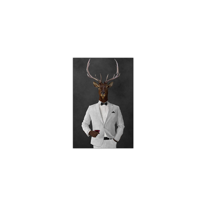 Elk drinking red wine wearing white suit small wall art print
