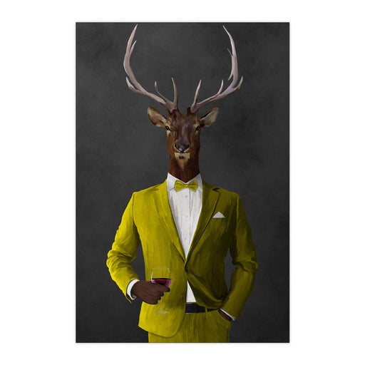 Elk drinking red wine wearing yellow suit large wall art print