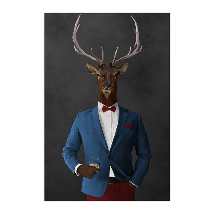 Elk drinking whiskey wearing blue and red suit large wall art print