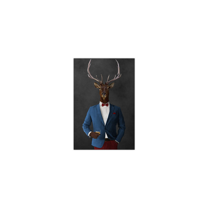 Elk drinking whiskey wearing blue and red suit small wall art print