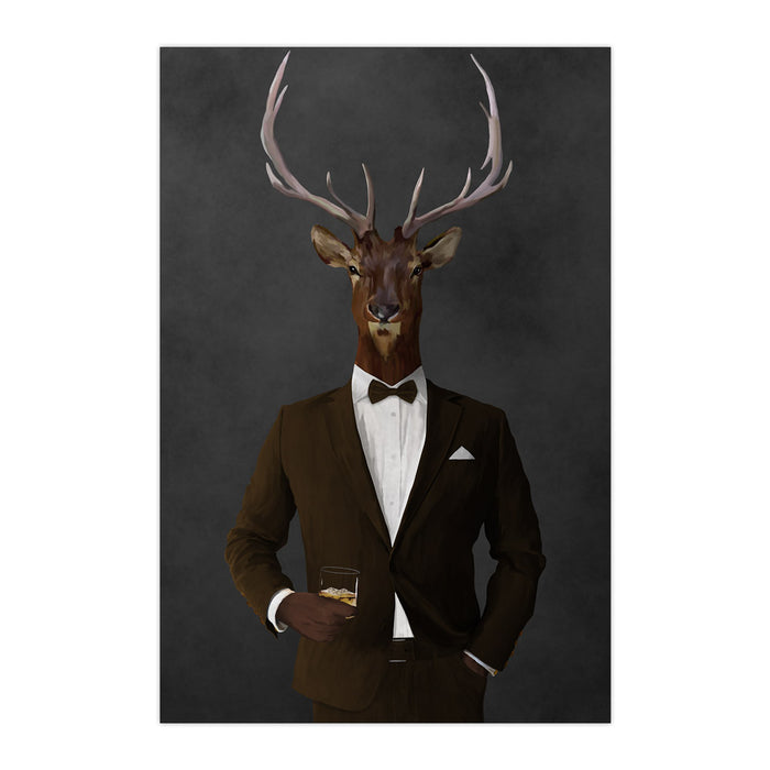 Elk drinking whiskey wearing brown suit large wall art print