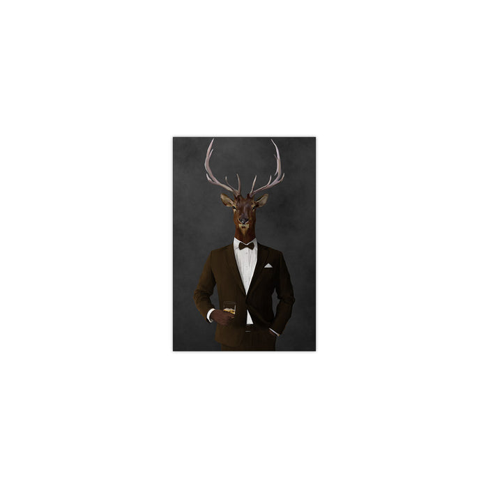 Elk drinking whiskey wearing brown suit small wall art print