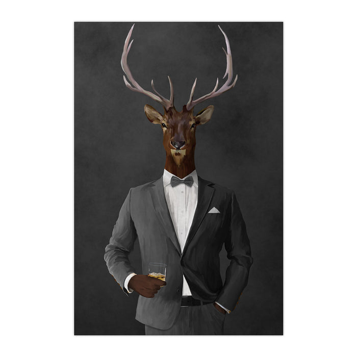 Elk drinking whiskey wearing gray suit large wall art print