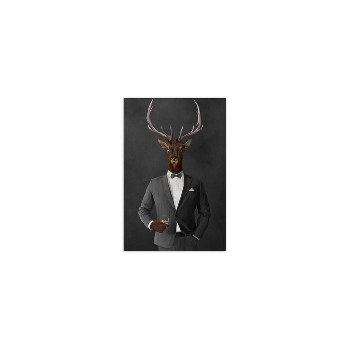 Elk drinking whiskey wearing gray suit small wall art print