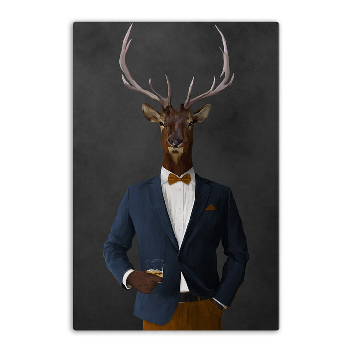 Elk drinking whiskey wearing navy and orange suit canvas wall art