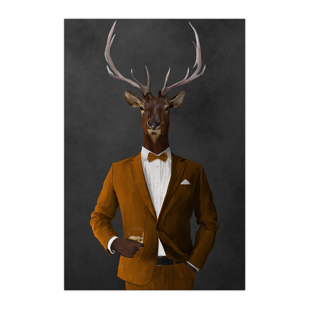 Elk drinking whiskey wearing orange suit large wall art print