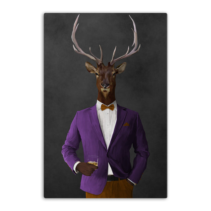 Elk drinking whiskey wearing purple and orange suit canvas wall art