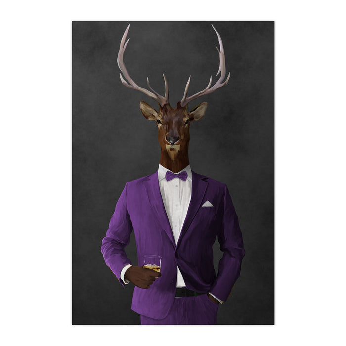 Elk drinking whiskey wearing purple suit large wall art print