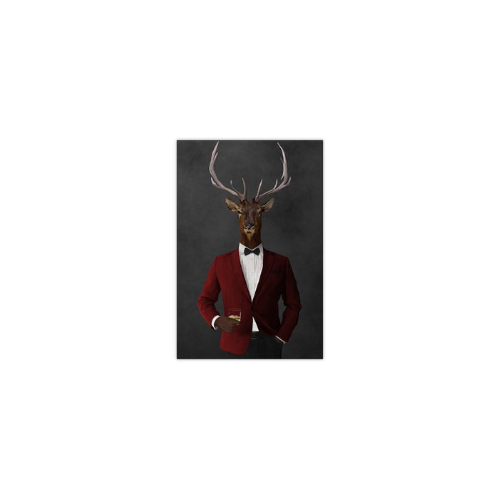 Elk drinking whiskey wearing red and black suit small wall art print