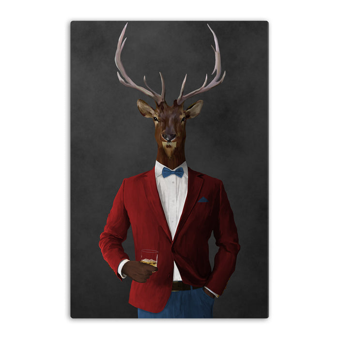 Elk drinking whiskey wearing red and blue suit canvas wall art