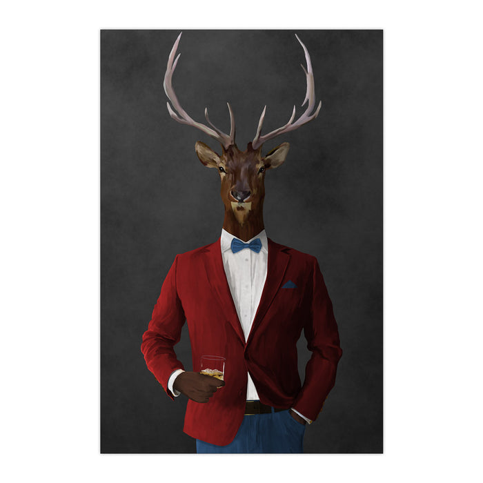 Elk drinking whiskey wearing red and blue suit large wall art print
