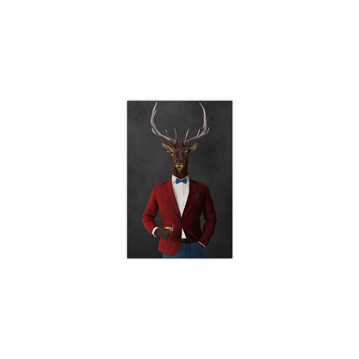 Elk drinking whiskey wearing red and blue suit small wall art print