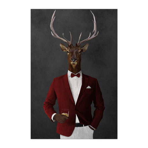 Elk drinking whiskey wearing red and white suit large wall art print