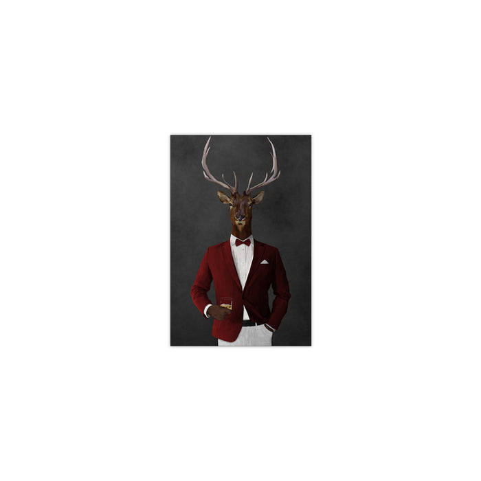 Elk drinking whiskey wearing red and white suit small wall art print