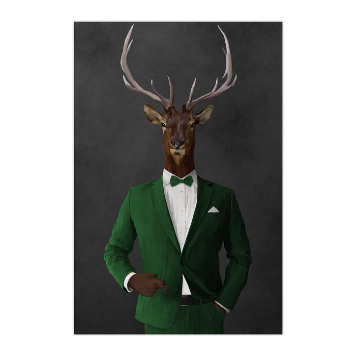 Elk smoking cigar wearing green suit large wall art print