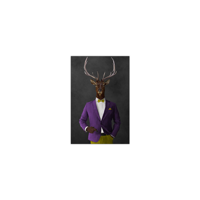 Elk smoking cigar wearing purple and yellow suit small wall art print