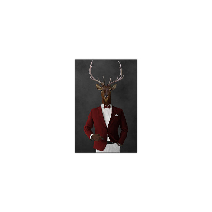 Elk smoking cigar wearing red and white suit small wall art print