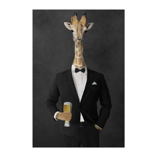 Giraffe drinking beer wearing black suit large wall art print