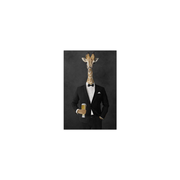 Giraffe drinking beer wearing black suit small wall art print