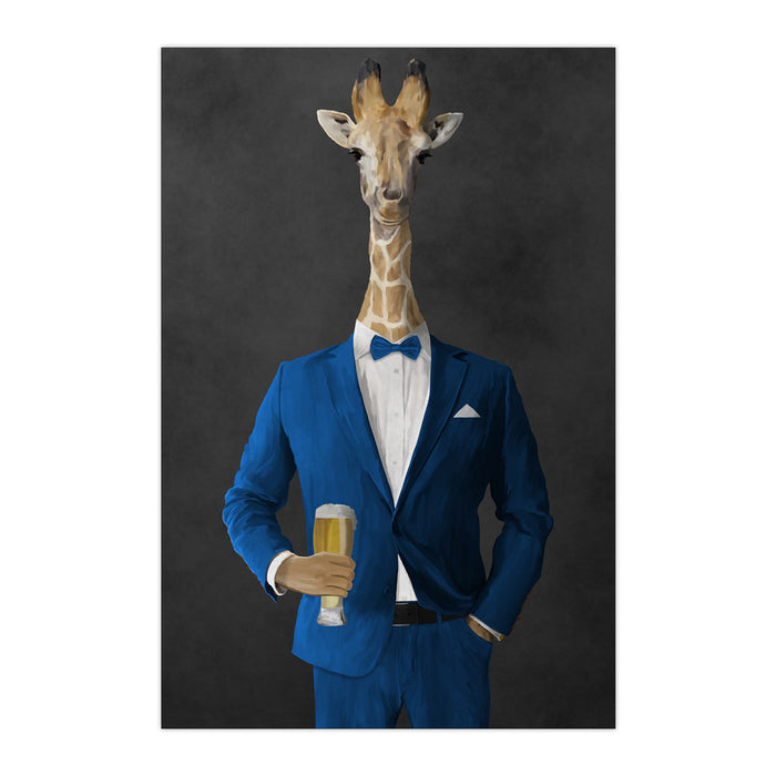 Giraffe drinking beer wearing blue suit large wall art print