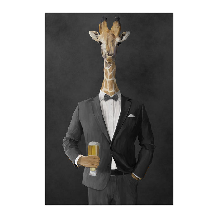 Giraffe drinking beer wearing gray suit large wall art print