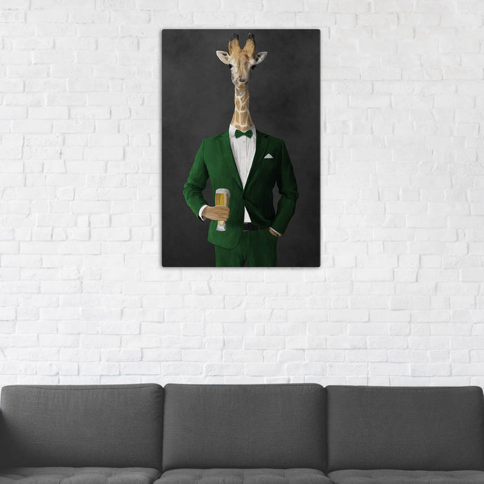 Giraffe Drinking Beer Wall Art - Green Suit