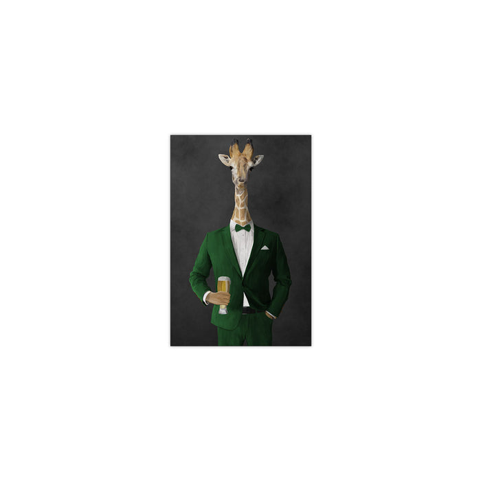 Giraffe drinking beer wearing green suit small wall art print