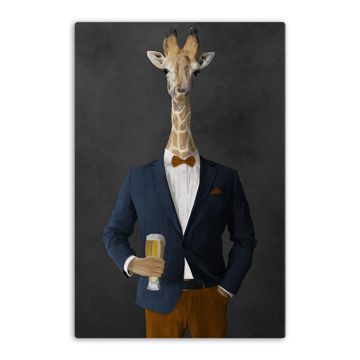 Giraffe drinking beer wearing navy and orange suit canvas wall art