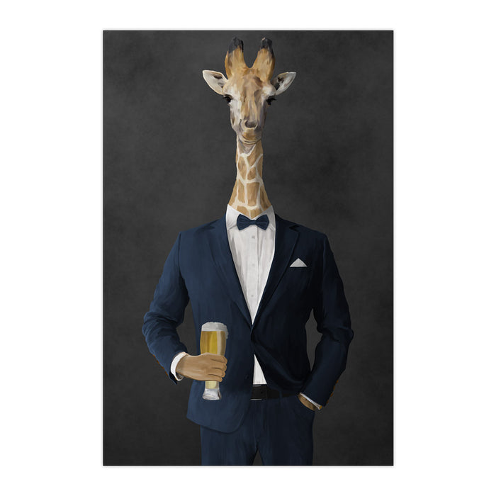 Giraffe drinking beer wearing navy suit large wall art print