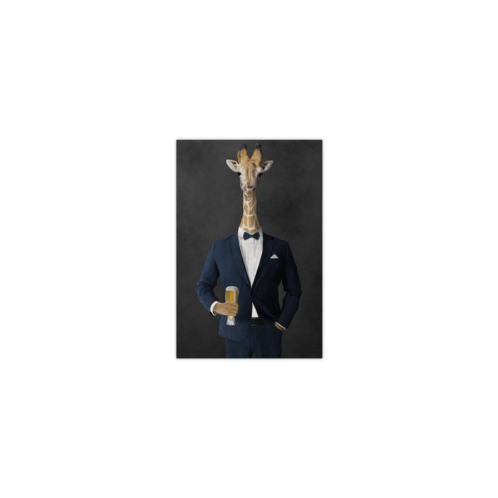 Giraffe drinking beer wearing navy suit small wall art print