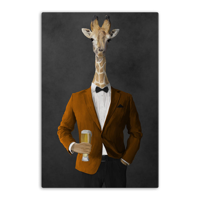 Giraffe drinking beer wearing orange and black suit canvas wall art